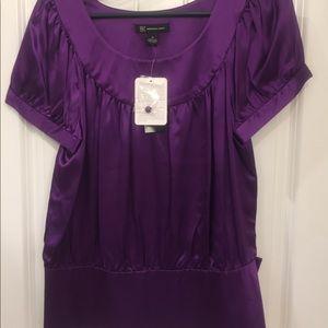 INC Jewel Tone Purple Button Detail Top